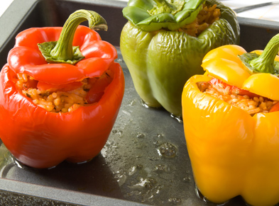 Summer Bell Peppers Stuffed with Eggplant Salad