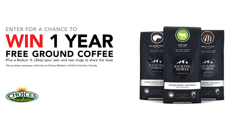 Win A Year's Supply of Kicking Horse Coffee | Choices Markets